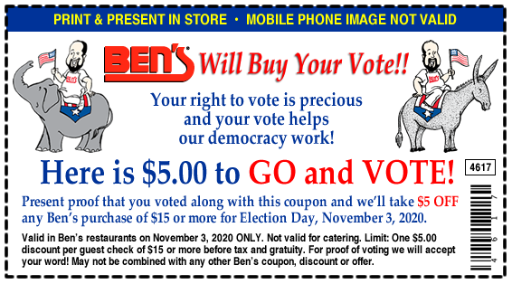 Ben's Election Day Coupon
