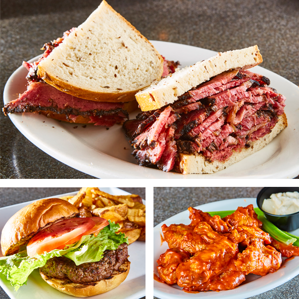Ben's Overstuffed Pastrami Sandwich, Burger & Wings